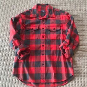 Untuckit Red & Gray Flannel Shirt